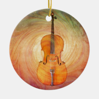Cello with warm colorful textured background. christmas ornament