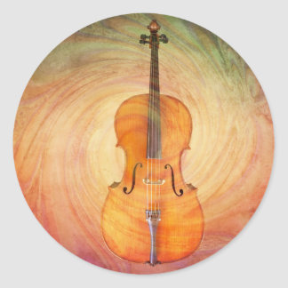 Cello with warm colorful textured background. round sticker