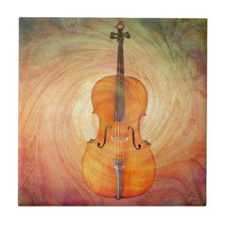 Cello with warm colorful textured background. tile