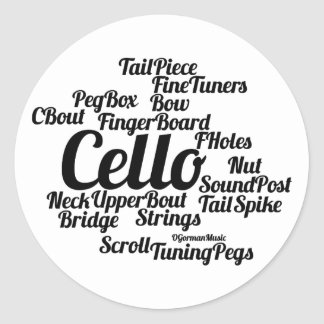 Cello Word Cloud Black Text Classic Round Sticker