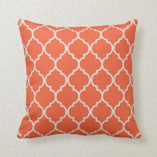 Celosia Orange and White Quatrefoil Pattern Throw Pillow