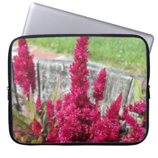 Celosia Red Rustic Fence Garden Laptop Sleeve