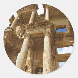 Celsius Library, famous  Roman building - Ephesus Classic Round Sticker