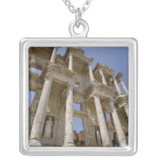 Celsus Library, built in AD 114-117 Silver Plated Necklace