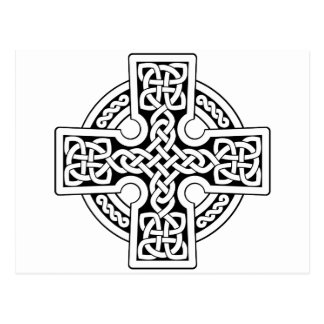 Celtic 4 way black and white postcard