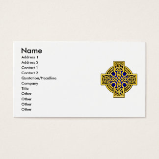 Celtic 4 way cross in gold and blue business card