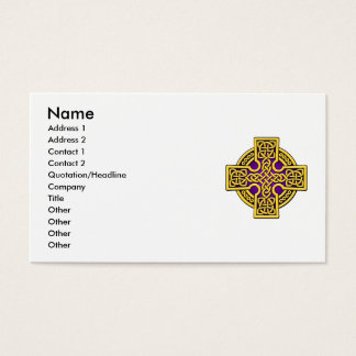 Celtic 4 way cross in gold and purple business card