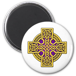 Celtic 4 way gold and purple 6 cm round magnet