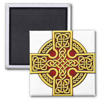 Celtic 4 way gold and red square magnet