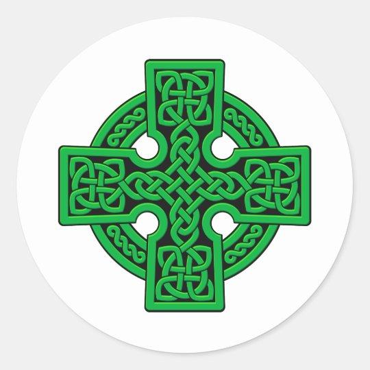 Celtic 4 way green classic round sticker