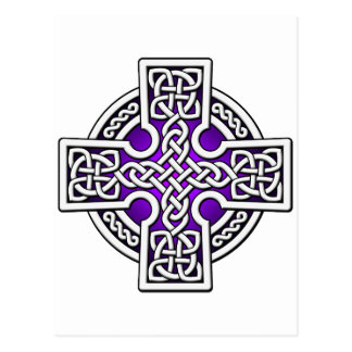 Celtic 4 way silver and purple postcard