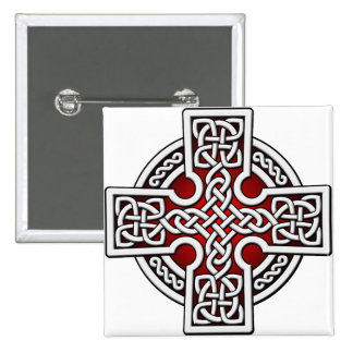 Celtic 4 way silver and red 15 cm square badge