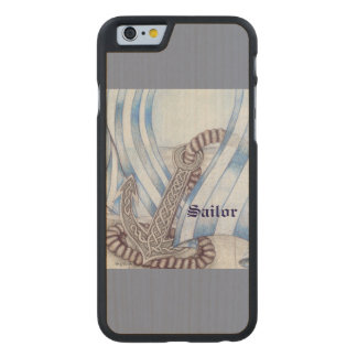 Celtic Anchor Nautical Choose Background Color Carved Maple iPhone 6 Case