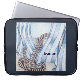 Celtic Anchor Nautical Choose Background Color Laptop Sleeve