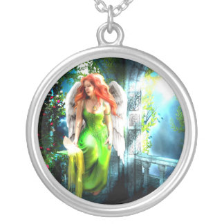 Celtic Angel Protection Pendent Round Pendant Necklace