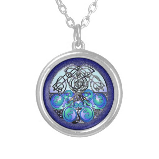 Celtic Art Chinese Dragons Blue and Black Personalized Necklace