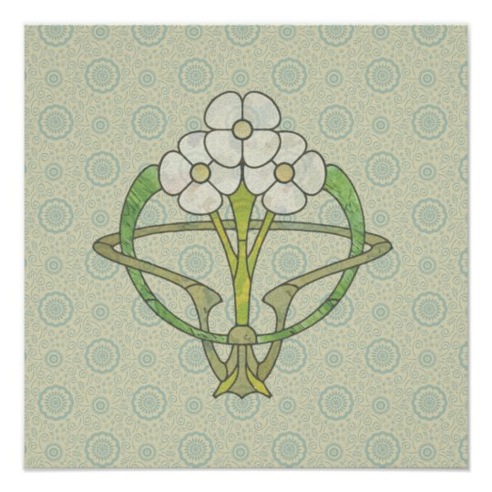 Celtic art deco floral design 2 Poster print