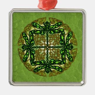 Celtic Art Dragonflies - Green Christmas Ornament