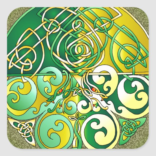 Celtic Art Dragons - Yellow and Green Square