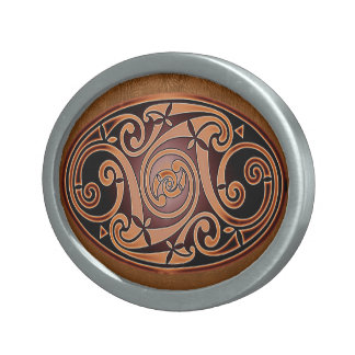Celtic Art Spiral Design Oval Belt Buckle