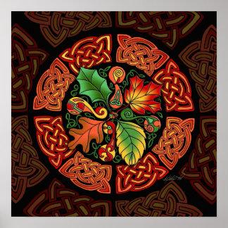 Celtic Autumn Leaves Fine Art Poster