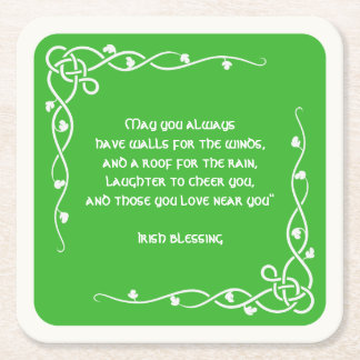 Celtic Braid - White and Green Irish Blessing (#3) Square Paper Coaster