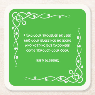 Celtic Braid - White and Green Irish Blessing (#4) Square Paper Coaster