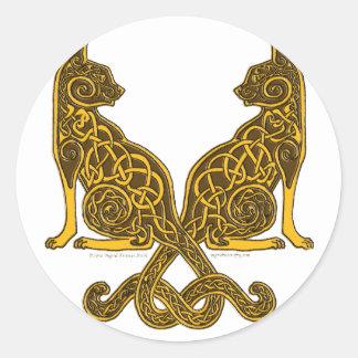 celtic cats 6 bronze gold classic round sticker