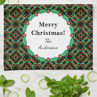 Celtic Christmas Holly Wreath Pattern Personalized Hand Towels