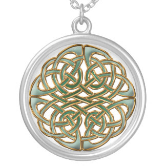 Celtic circle silver plated necklace