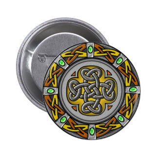 Celtic circle - steel and leather 6 cm round badge
