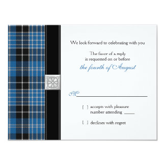 Celtic  Clark Tartan Wedding RSVP Reply Card