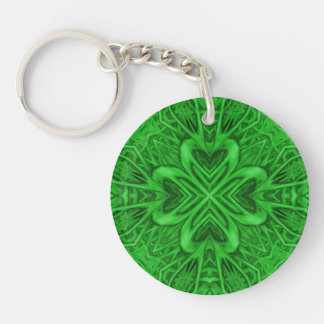 Celtic Clover Acrylic Keychains, 6 styles Double-Sided Round Acrylic Key Ring