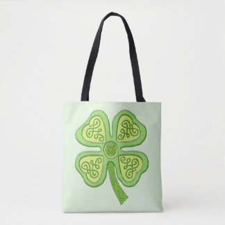 Celtic Clover Green 4-Leaf Lucky Irish Patricks Tote Bag