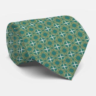 Celtic Clover Green Gold White tie