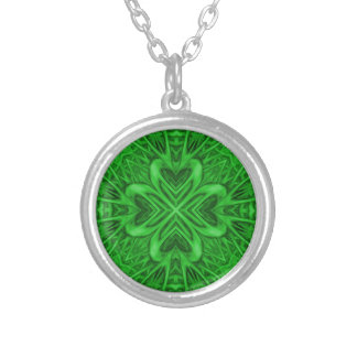 Celtic Clover Kaleidoscope Silver Plated Necklace