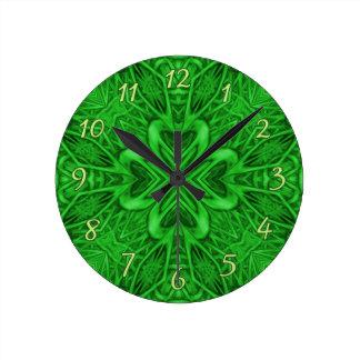 Celtic Clover Kaleidoscope Wall Clocks