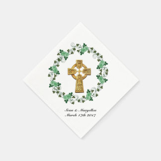 Celtic cross and Irish shamrocks cocktail napkins Disposable Napkin