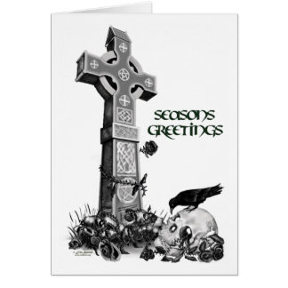 Celtic Cross and Raven Christmas Card