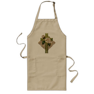 Celtic Cross and Roses Long Apron