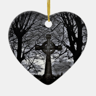 Celtic cross and trees heart Christmas ornament