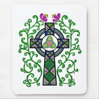 Celtic Cross and Vines Mouse Pad