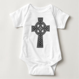 Celtic Cross black and white Baby Bodysuit