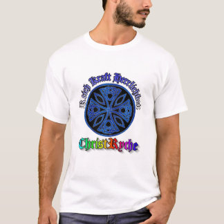 celtic cross blue in black circle, image on front T-Shirt