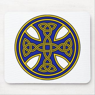 Celtic Cross Double Weave Blue Mouse Mat