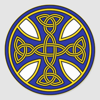 Celtic Cross Double Weave Blue Round Sticker