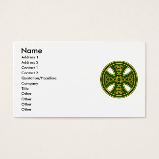 Celtic Cross Double Weave Green Business Card