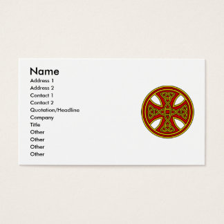 Celtic Cross Double Weave Red Business Card
