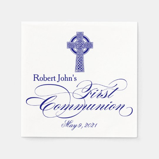 Celtic Cross First Communion Personalised Napkin Disposable