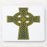 Celtic Cross gold and blue Mouse Pads